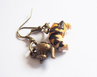 Croissant Earrings Tea Time Earrings ( food earrings teapot earrings miniature food polymer clay food cute earrings food jewellery )