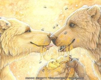 Sweet Bear Couple Share Honeycomb Print