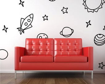 Space Wall Decal - Rocket, Planets, Stars