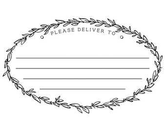 Rustic Wreath Address label Rubber Stamp Wodden Handle