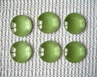 Green Round Glass Magnet, Green Color Fridge Magnet, Green Round Magnet - 6 PCS