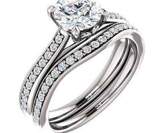 1 ct 6. 5mm Round Forever Brilliant Moissanite  Solid 14K White Gold   Engagement  Ring Set  - ST82823