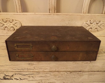 Metal Watchmakers Cabinet - Rustic Metal Chest of Drawers - Small Industrial Storage Cabinet