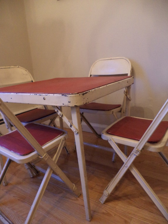 Children s Table and Chairs Red and White by Thebeezkneezvintage