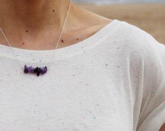 Semi-Precious Amethyst Gemstone Chips Bar Pendant Necklace