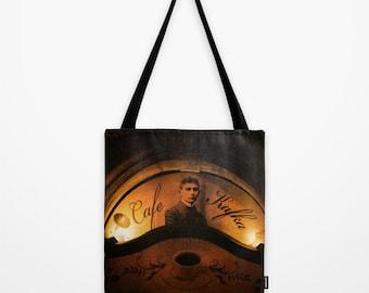 Tote Bag, Kafka Book Bag, Cafe Kafka Book Bag, Kafka Bohemian Market Tote Shoulder Sling Bag, Prague Cafe Tote Bag
