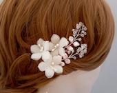 Silk Swarovski Bridal Hairpiece, Pearl Wedding Hairpiece, Crystal Bridal Hair Piece, Floral Bridal Hairpin, Ivory Flower Bridal Hair Pins
