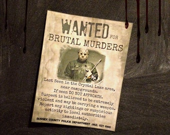 Wanted Notice Jason Voorhees Print