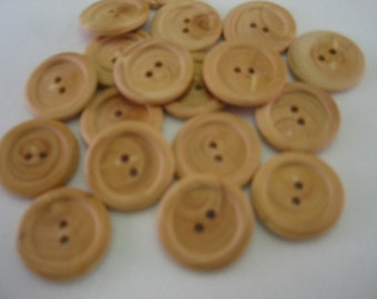 "Wood Button 7/8"" (22mm) Lot of 6"