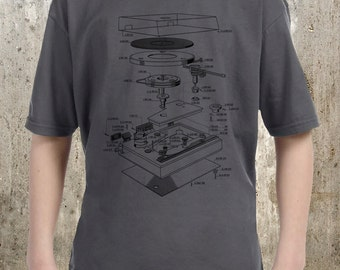 Vinyl Turntable Diagram - Childrens T-Shirt - Youth XS Through XL Sizes Avialable