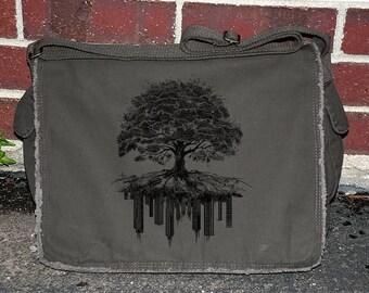 Tree & Crumbling City Messenger Bag - Screen Printed Messenger Bag - Khaki Green