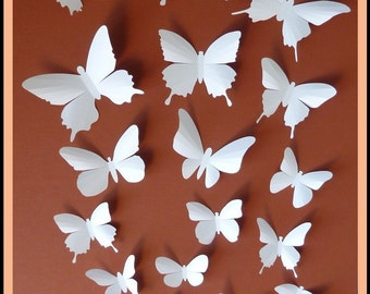 3D Wall Butterflies - 20 White Butterfly Silhouettes, Nursery, Home Decor, Wedding