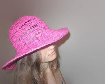 Summer Hat Bright Pink. Wide Brimmed Floppy Hat. Women Summer Cloche. Crochet Cotton Accessory. Beach Wear. Sun Protection Hat. by dodofit