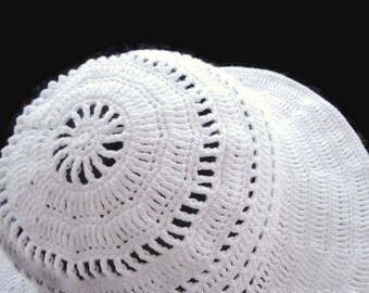 White Summer Floppy Hat. Women Cloche Wide Brim. Wedding Bridesmaid Romantic Hat. Sun Protection Cotton Lace Hat designed by dodofit on Etsy