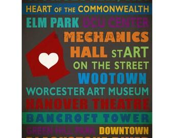 Worcester Massachusetts Art Print, 8x10 Art Print