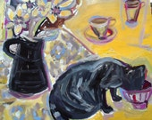 "ORIGINAL OIL PAINTING, "" BinkyLoveCat and cafe au lait "",home decor, wall decor, Mediterranean"
