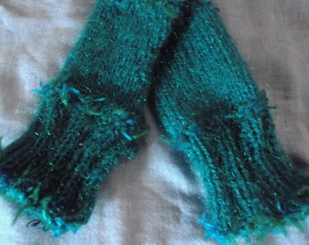 KNITTED GLOVES / WRISTWARMERS, jade green, blue, handmade, fingerless, mittens