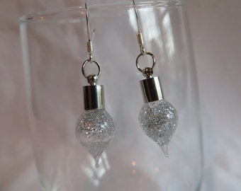 Silver Sparkly Bulb Earrings on Silver Ear Wires, Earrings, Bulb, Silver