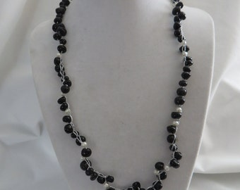 "21"" Black and White Crocheted Necklace on Silver Wire, Black, White, Necklace, Crocheted"