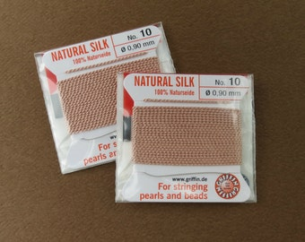 Natural Silk Cord With Needle - 2 packs - Size 10 - Light Pink
