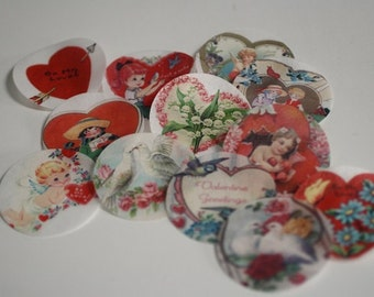 """12 vintage Valentine's Day edible wafer paper pictures for cookie or cupcake decorating. 2"""" round Valentine cookies images"""