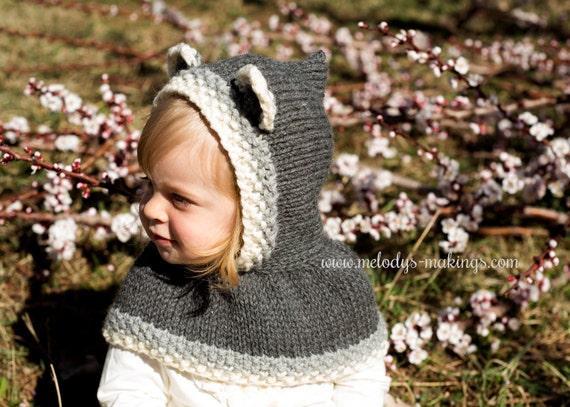 Hooded Cowl Knit Pattern Baby Bear Hooded Cowl Knitting Pattern
