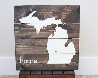 13 x 13 Michigan Home sign
