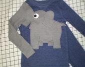 Elephant trunk sleeve 2pc thermal set, shirt and pants, pyjamas or longjohns, size boys 2T/3T, denim blue