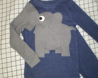 Elephant trunk sleeve 2pc thermal set, shirt and pants, pyjamas or longjohns, size boys 2T/3T, denim blue