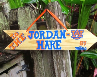 To JORDAN-HARE Auburn University Orange and Blue Wooden Sign for Dorm, Lake House, Porch, Pool or Den