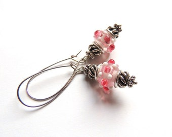 Baby Pink Bobble Lampwork Earrings. Antique Silver Earrings. Long Dangle Earrings. Handmade Earrings. Handcrafted Jewelry.