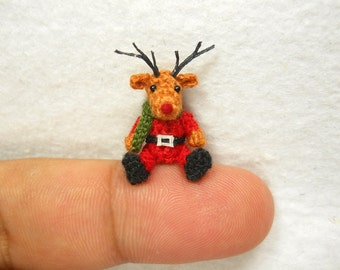 Miniature Rudolf Reindeer - Tiny Amigurumi Crochet Mini Doll Stuffed Animal - Made To Order