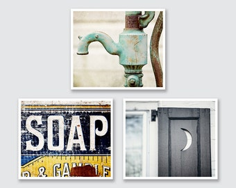 Country Bathroom Decor Print or Canvas Wrap Set of 3, Rustic Bathroom Decor Prints or Gallery Wrap Canvas, Rustic Bathroom Decor, Farmhouse