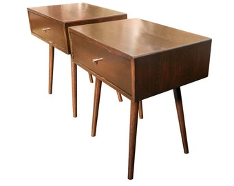Mid Century Inspired End Table / Nightstand  SET OF 2 - made to order 90 days