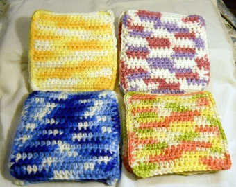 Pair of Hot Pads, pot holders, crochet, variegated colors
