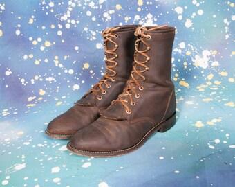 JUSTIN  Roper Men's Boots Size 7 WIDE