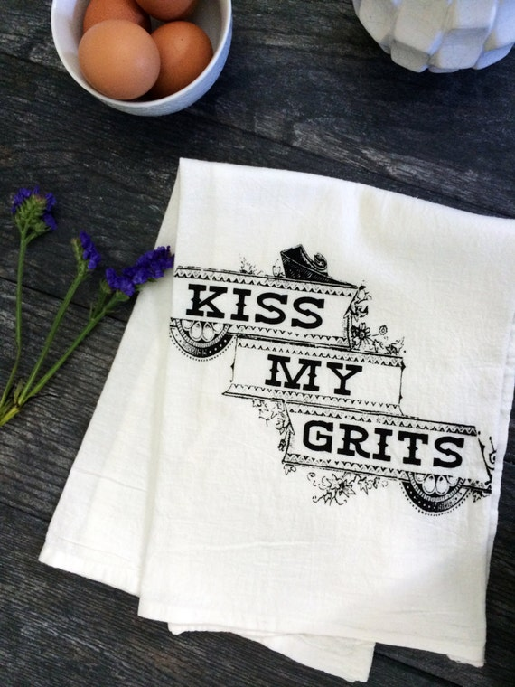 kiss my grits funny screen printed kitchen tea by. Black Bedroom Furniture Sets. Home Design Ideas