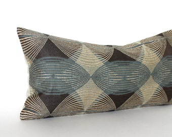 Lumbar Pillow Cover Blue Brown Pillow Geometric Accent Oblong 10x20 Throw Pillow Cushion Cover
