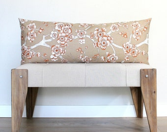 Lumbar Pillow Cover 14x36 Rust Cherry Blossom Decorative Pillow Accent Cushion Oblong Throw Pillow Cover