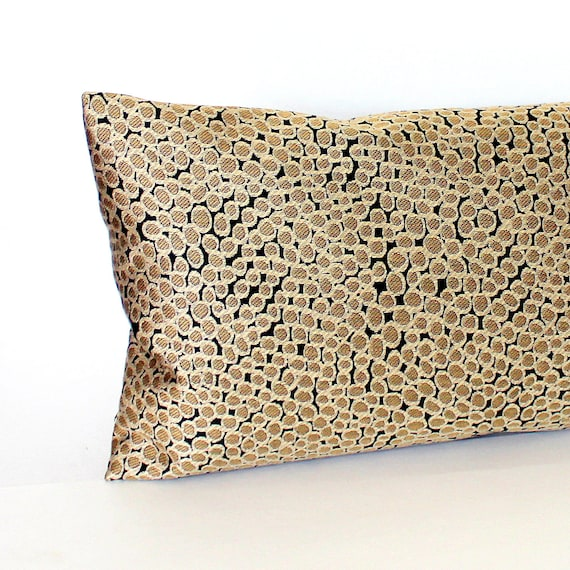 Lumbar Pillow Black and Gold Oblong Throw by couchdwellers