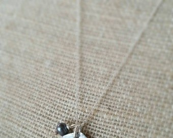 Queen Bee fine silver charm necklace with a peacock freshwater pearl