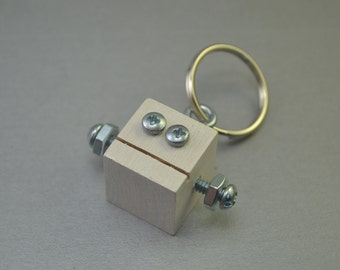 Metallic White Robot Key Chain, Zipper pull, Functional Art, Back to School