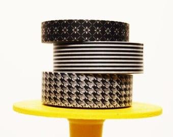 Black and White Washi Tape Set Pattern Washi Black White Pattern / Black & White Pinstripes / Black White Houndstooth