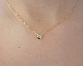 Dainty Gold Necklace / 14k Gold Fill Chain / Elegant Gold CZ Solitaire Necklace / Everyday Layering Necklace/ Gold Necklace/ Valentines Day