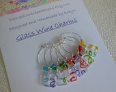 Confetti Party Time Wine Tags - Turquoise, Green, Orange, Purple, Red, Yellow - Set of Six - Glass Wine Charms Made by Pillowscape Designs