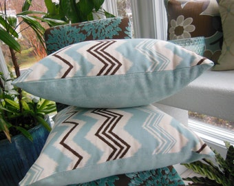 Large Blue Pillow - Brown Chevron Pillow - Duck Egg Blue and Bark Brown Design Pillow - Reversible 18 x 18 Inch - Pillow Insert Included