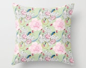 Indoor Decorative Throw Pillow Cover, Shabby Chic Bluebirds and Roses
