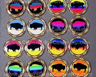 """1"""" Epoxy Stickers Buffalo Native Cab Set Bottle Cap Beading"""