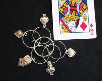 Beautiful set of silver playing cards poker bridge Texas Hold em wine glass charms -