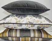 Custom order for Janet    2 Pillows - Faded Floral/Chalkboard - Robert Allen - 16 inch - Cream - Grey - Golden Yellow